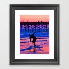 Neon Skimboarder Framed Art Print