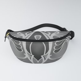 Black and Grey Tones Scroll Pattern Fanny Pack