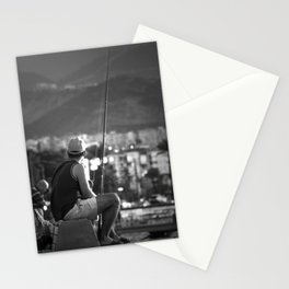 Fishing at seaside in Izmir (Turkey) - black and white Stationery Cards