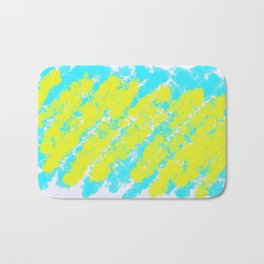 painting background in yellow and blue with white background Bath Mat