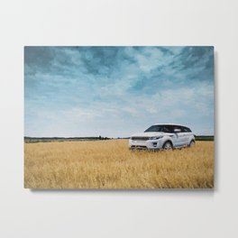 Abandoned Car Art Evoque in field Metal Print