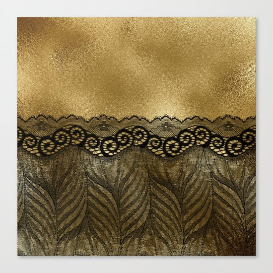 Black floral luxury lace on gold effect metal background Canvas Print