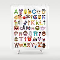 sesame street Shower Curtains featuring Sesame Street Alphabet by Mike Boon