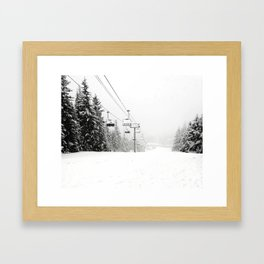 Lifts waiting for action in the snow Framed Art Print