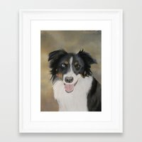 border collie Framed Art Prints featuring Border Collie by A. Martin Pastel Art