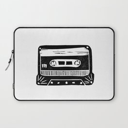 Linocut cassette tape retro analog tape 80s 90s technology gifts Laptop Sleeve