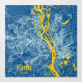 Kiev, Ukraine street map Canvas Print