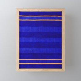 N241 - Navy Deep Calm Blue Velvet Texture Moroccan Style  Framed Mini Art Print