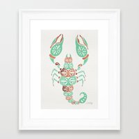 rose gold Framed Art Prints featuring Scorpion – Mint & Rose Gold by Cat Coquillette
