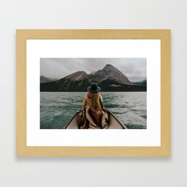 Canoeing in the Rocky Mountains Framed Art Print