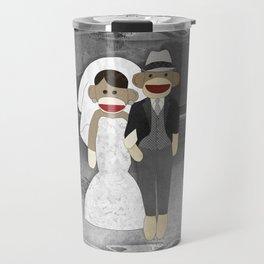 Sock Monkey Wedding Travel Mug