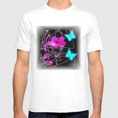 Flowers and Butterflies White Mens Fitted Tee MEDIUM