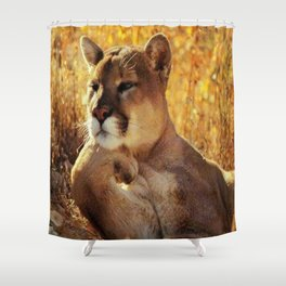 The Golden Thinker 🐾 Cougar 🐾 Shower Curtain