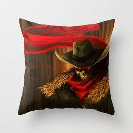 Skull Cowboy Throw Pillow