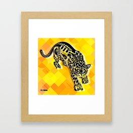 jaguars in gold ecopop Framed Art Print