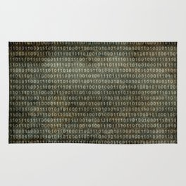 Binary Code with grungy textures Rug