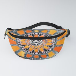 Celebrating the 70's - tangerine orange watercolor on grey Fanny Pack