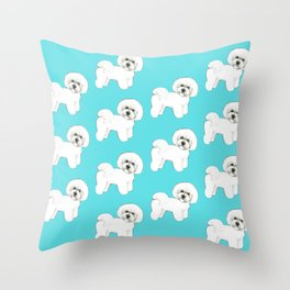Bichon Frise on aqua / teal / cute dogs/ dog lovers gift Throw Pillow