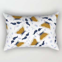 Gold and White Flowers with Blue Rectangular Pillow