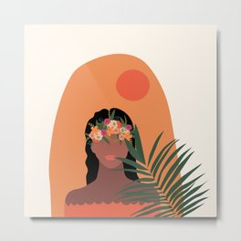 Tropical Floral Girl  Metal Print