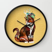 wizard Wall Clocks featuring Wizard Cat by Sandra Dieckmann