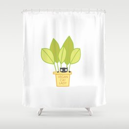 VEGAN CAT PLANT LADY Shower Curtain