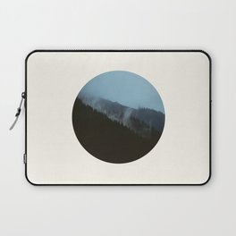 Mid Century Modern Round Circle Photo Graphic Design Slanted Pine Hill Silhouette Laptop Sleeve