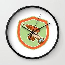 Handyman Hand Holding Cordless Drill Retro Wall Clock