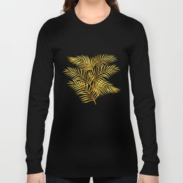 Palm Leaves_Gold and White Long Sleeve T-shirt