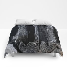 Black and White Acrylic Swipe Abstract Comforters