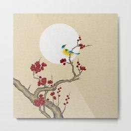 Plum blossoms, bird and the moon Type E (Minhwa: Korean traditional/folk art) Metal Print