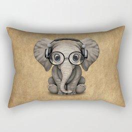 Cute Baby Elephant Dj Wearing Headphones and Glasses Rectangular Pillow