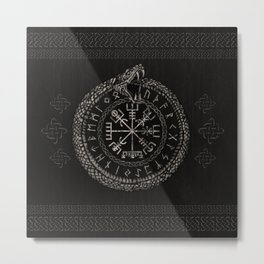Vegvisir with Ouroboros and runes Metal Print