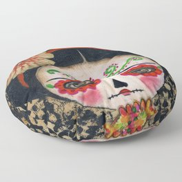 Frida The Catrina And The Skull - Dia De Los Muertos Mixed Media Art Floor Pillow