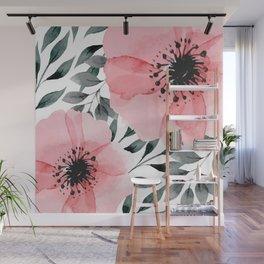 Big Watercolor Flowers Wall Mural