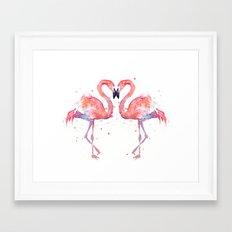 Pink Flamingo Love Two Flamingos Framed Art Print