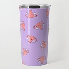 Crazy Happy Uterus in Purple, Large Travel Mug