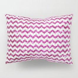 Modern elegant pink white faux glitter chevron Pillow Sham