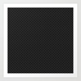 Classic White Polka Dot Hearts on Black Background Art Print