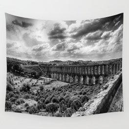 Pegões Aqueduct - Black & White Wall Tapestry