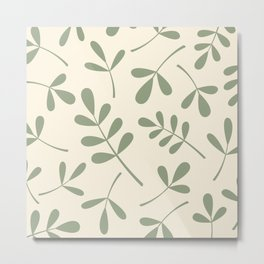 Green on Cream Assorted Leaf Silhouettes Metal Print