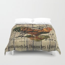 vintage typography barn wood shabby french country poulet chicken rooster Duvet Cover