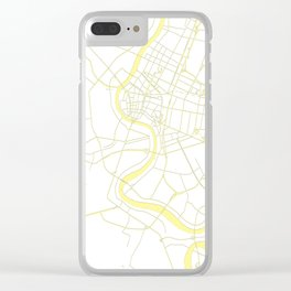 Bangkok Thailand Minimal Street Map - Pastel Yellow and White Clear iPhone Case