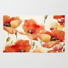 Poppy Flower Meadow- Floral Summer lllustration Rug