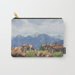 breeding of cows resting on mountain landscape Carry-All Pouch