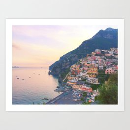 Positano Italy Sunset Art Print