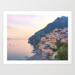 Positano Italy Sunset Art Print