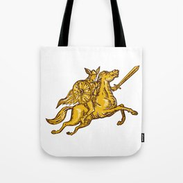 Valkyrie Warrior Riding Horse Sword Etching Tote Bag