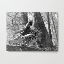 Knight riding through the forest Metal Print