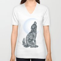 lunar V-neck T-shirts featuring Lunar by MacGreen
